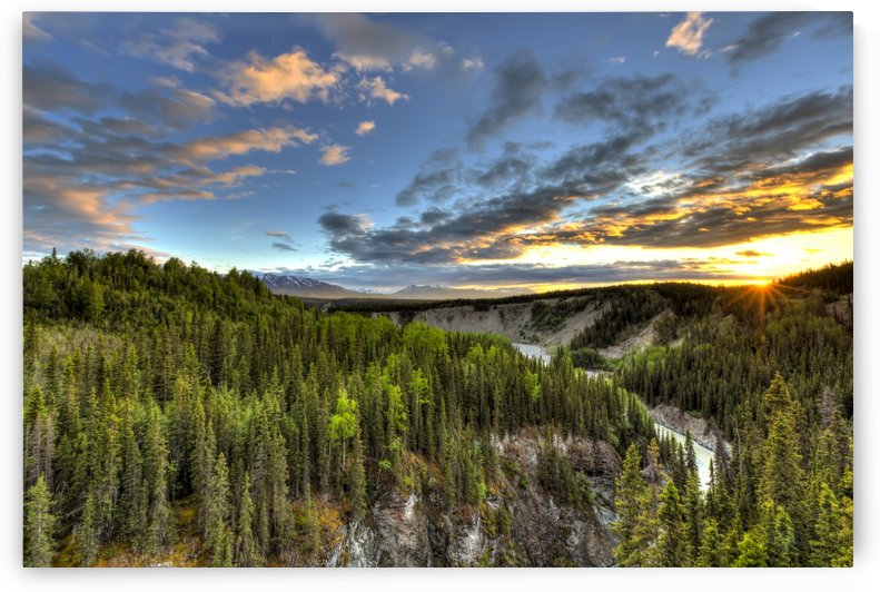 Scenic view of the Kuskulana River Canyon at sunset from the Kuskulana River Bridge on the McCarthy Road in Wrangell-St. Elias National Park and Preserve, Southcentral Alaska, Spring, HDR by PacificStock