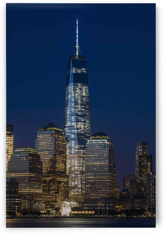 The new World Trade Center at twilight, viewed from Jersey City, New Jersey; New York City, New York, United States of America by PacificStock