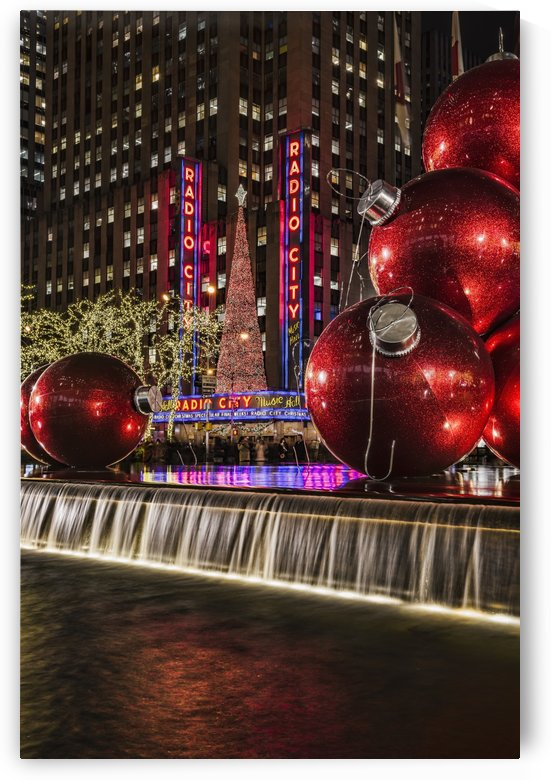 Christmas decorations near Radio City Music Hall; New York, New York, United States of America by PacificStock