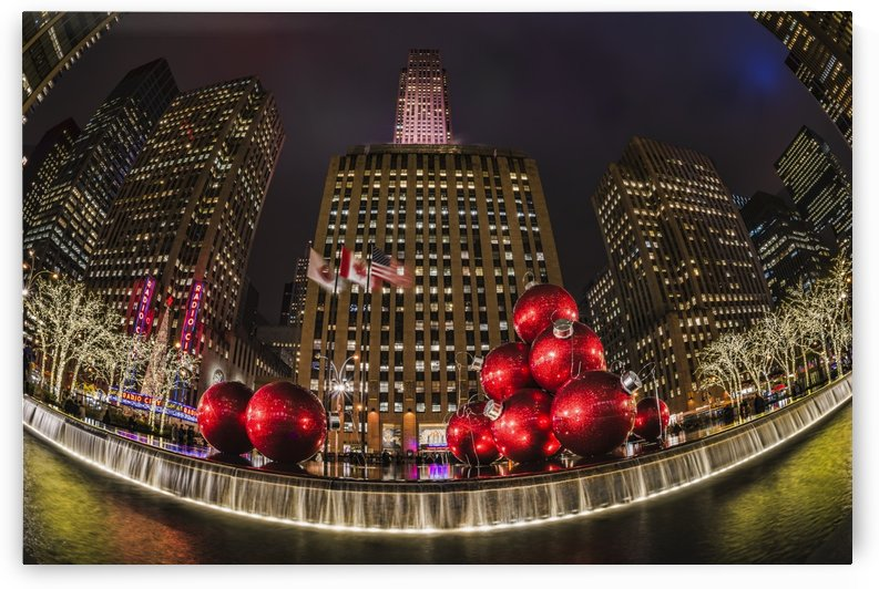 Christmas decorations near Radio City Music Hall; New York City, New York, United States of America by PacificStock