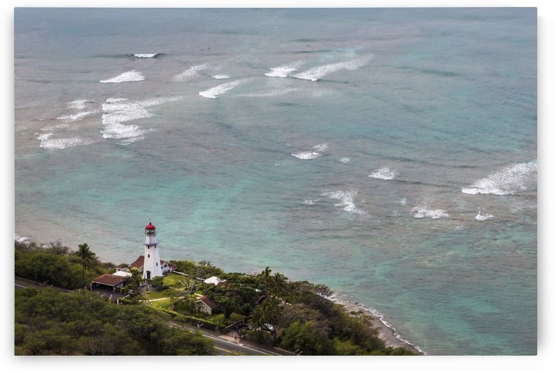 View of Diamond Head Lighthouse with waves breaking in the shallow water in background; Honolulu, Oahu, Hawaii, United States of America by PacificStock