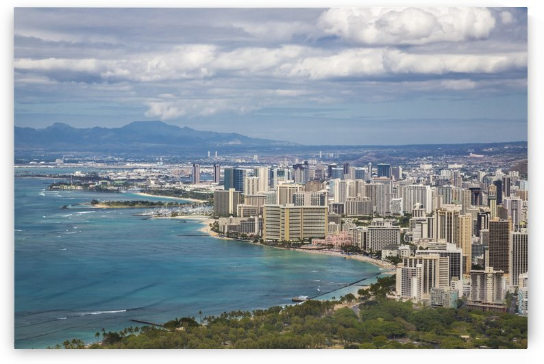 View of downtown Honolulu Waikiki from Diamond Head; Honolulu, Oahua, Hawaii, United States of America by PacificStock
