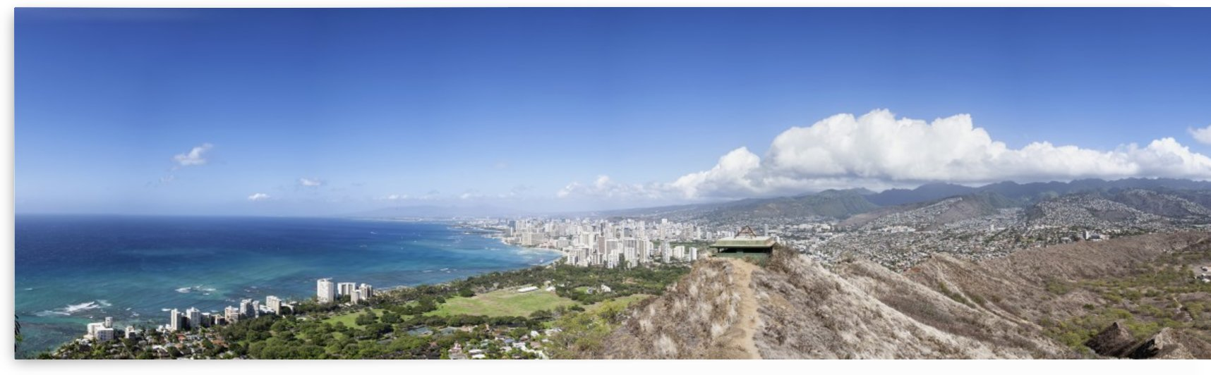 Looking out over Waikiki from Diamond Head; Honolulu, Oahu, Hawaii, United States of America by PacificStock