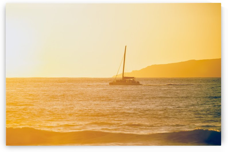 Golden surf visible from Barking Sands Beach with catamaran crossing the channel; Kekaha, Kauai, Hawaii, United States of America by PacificStock