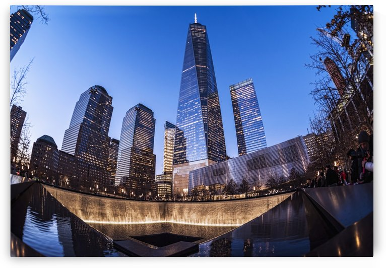 World Trade Center memorial at twilight, World Trade Centre; New York City, New York, United States of America by PacificStock