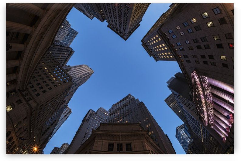 Center of Wall Street at twilight; New York City, New York, United States of America by PacificStock