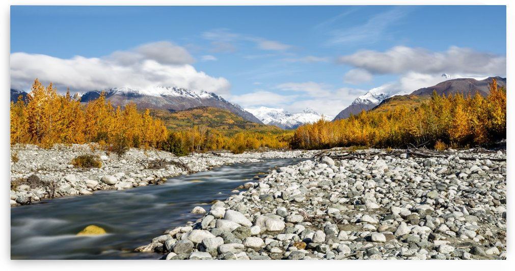 Long exposure of Granite Creek and Talkeetna Mountains along the Matanuska Valley in Southcentral Alaska, Autumn. by PacificStock