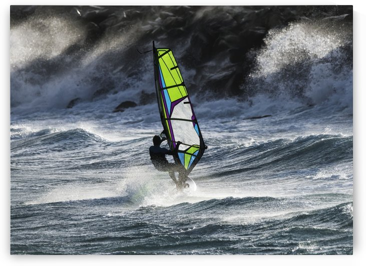 Windsurfer in the waves; Tarifa, Cadiz, Andalusia, Spain by PacificStock