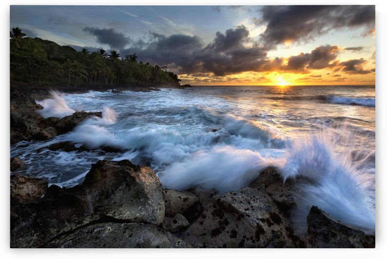 Sunrise over the ocean and a view of the coastline; Opihikao, Island of Hawaii, Hawaii, United States of America by PacificStock