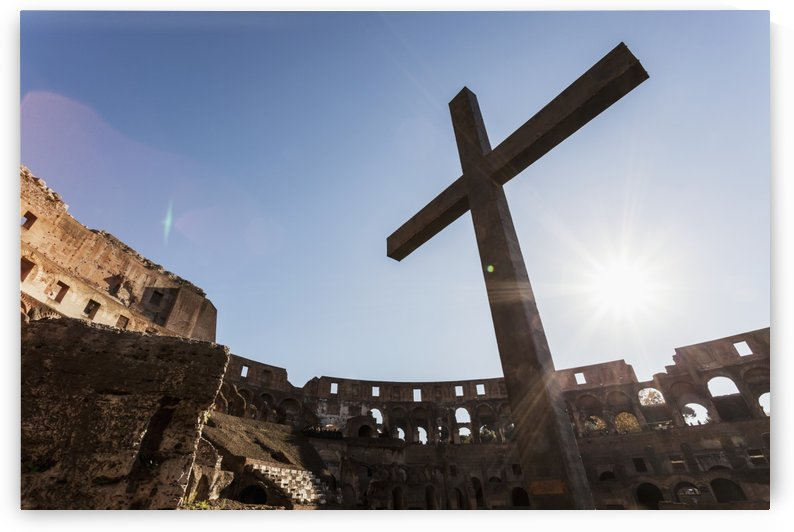Cross in the Colosseum; Rome, Italy by PacificStock