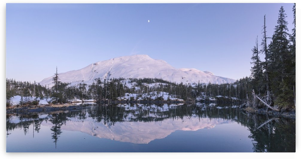Moon over Chugach mountains and Kings Bay, Prince William Sound, Whittier, Southcentral Alaska, USA, Winter by PacificStock