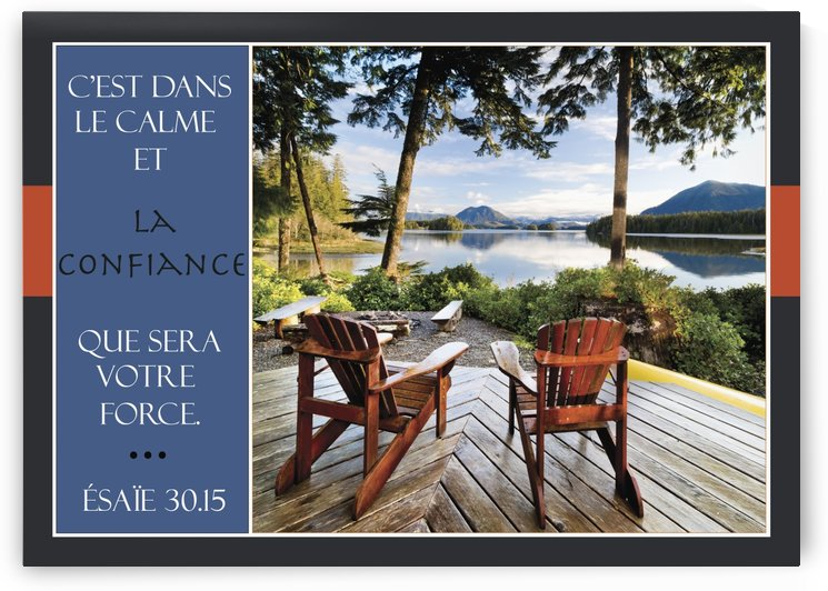 Two adirondack chairs on a deck looking out over Jensen Bay, with a scripture verse in french; Tofino, British Columbia, Canada by PacificStock