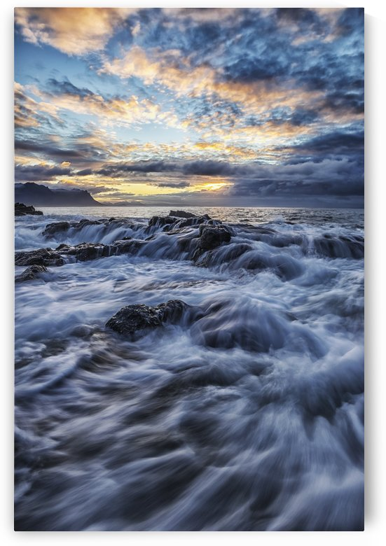 Sunrise colours the skies above the coastline of Iceland, Snaefellsness Peninsula; Iceland by PacificStock