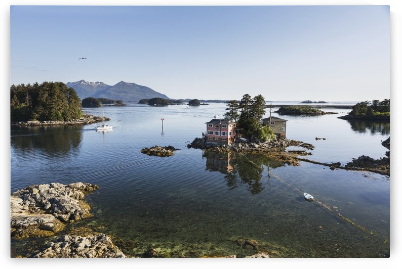 Small island with residential homes, Sitka, Southeast Alaska, Summer by PacificStock