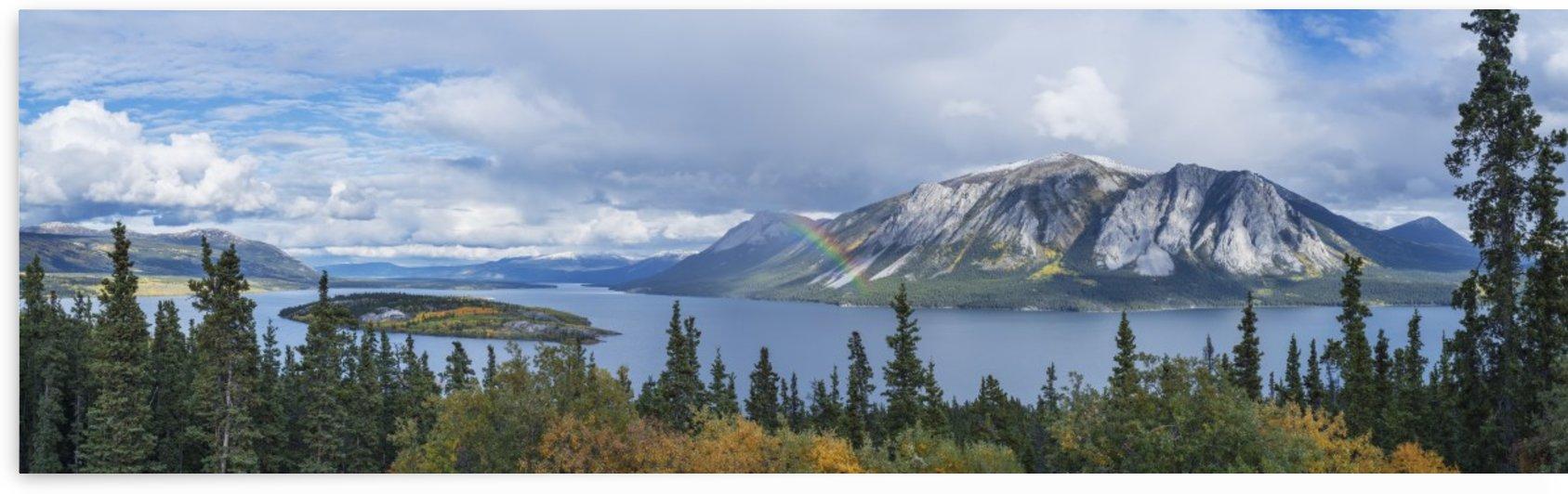 Fall showers create a rainbow over Tagish Lake, Bove Island, along the Klondike Highway, Yukon Territory, Canada by PacificStock