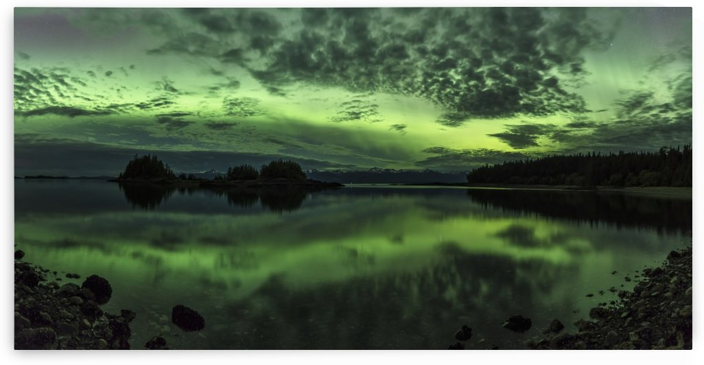 Northern lights above Sunshine Cove, Lynn Canal, Tongass National Forest, Southeast Alaska by PacificStock