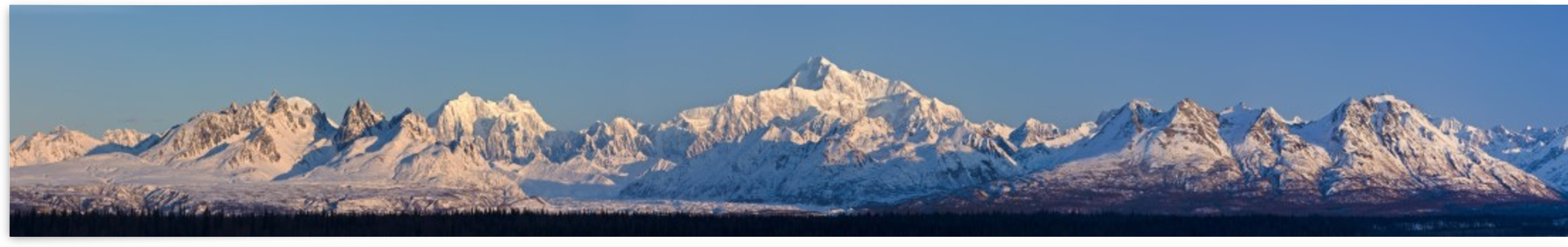 Panoramic view of sunrise over Denali and the Alaska Range, Denali State Park, Southcentral Alaska, Winter by PacificStock