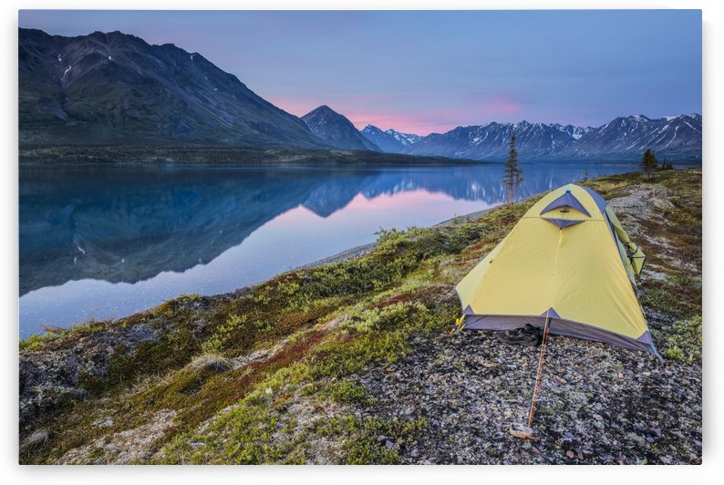 Scenic view of Lower Twin Lake with a backpacking tent in the foreground and sunset, Lake Clark National Park & Preserve, Southcentral Alaska by PacificStock