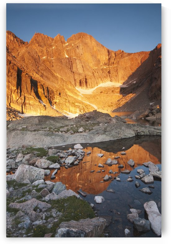 First light on Long's Peak at Chasm Lake in Rocky Mountain National Park; Colorado, United States of America by PacificStock