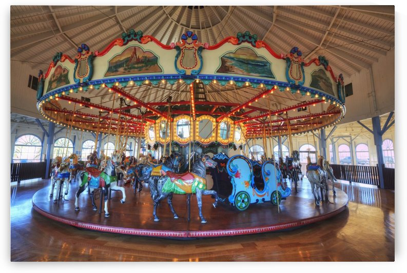 Loof Hippodrome, carousel with 45 hand carved horses, built in 1916, Santa Monica Pier; Santa Monica, California, United States of America by PacificStock
