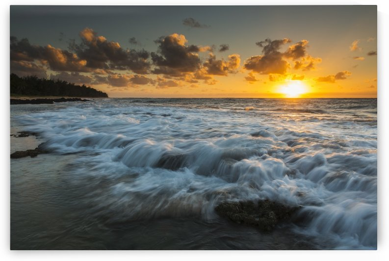 Sunrise and surf on the east coast of Kauai; Kauai, Hawaii, United States of America by PacificStock