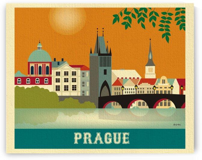 Skyline Prague Art Print by VINTAGE POSTER