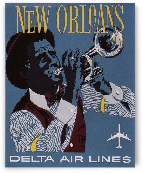 New Orleans Delta Airlines vintage travel poster by VINTAGE POSTER