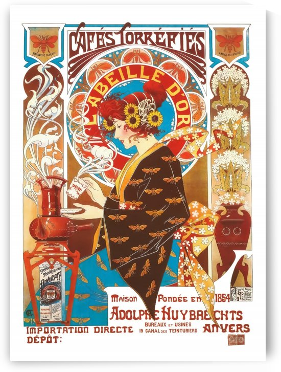 French Art Nouveau Vintage Illustration Coffee Poster by VINTAGE POSTER
