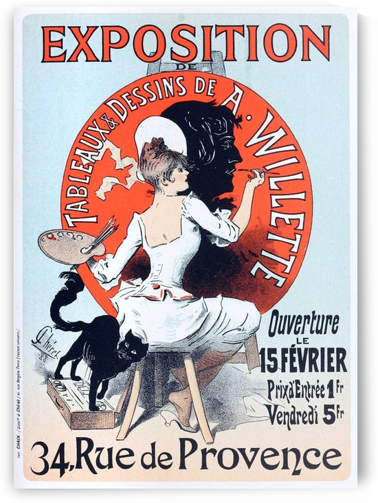 Original Vintage poster for an exhibition of paintings and drawings by Adolphe Willette by VINTAGE POSTER