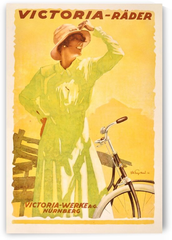 Original Vintage 1921 Bicycle Advertising Poster by VINTAGE POSTER