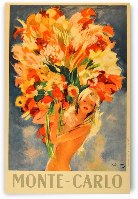 Monte Carlo Flower Girl Original Vintage Travel Advertising Poster by VINTAGE POSTER
