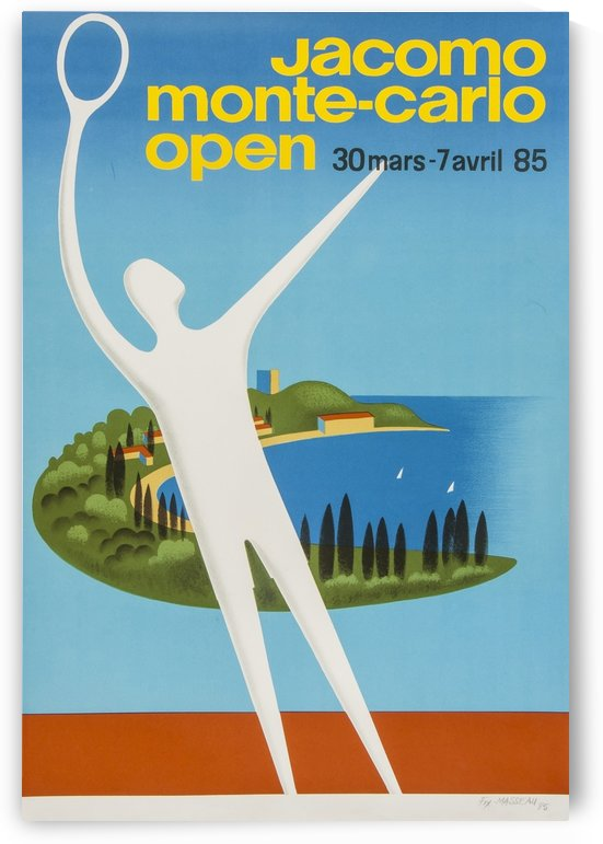 Monte Carlo Open Original Vintage Tennis Poster by VINTAGE POSTER