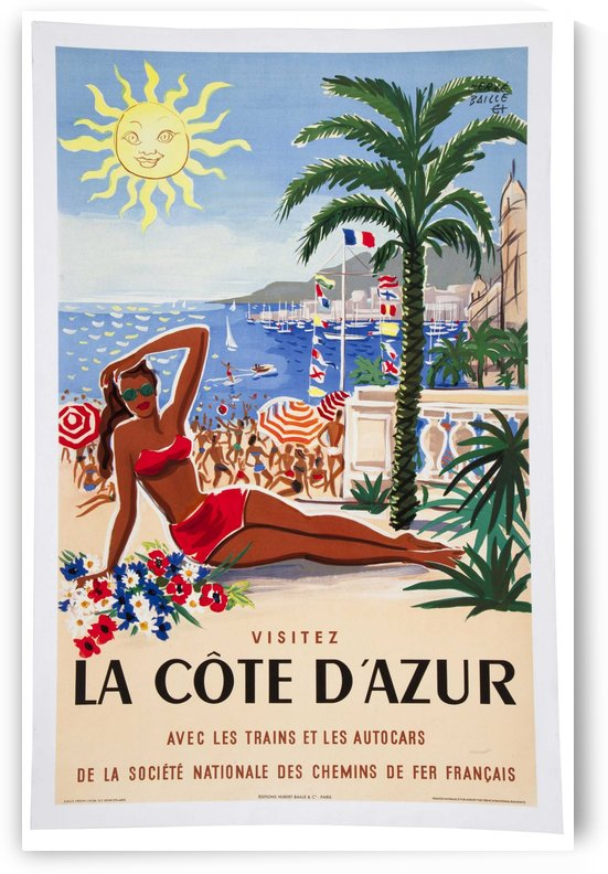 Vintage poster for French Riviera by VINTAGE POSTER
