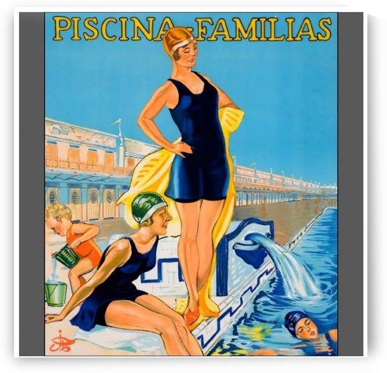Vintage poster da natacao de piscina familias by VINTAGE POSTER