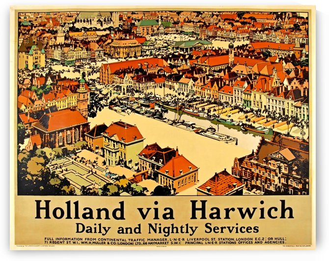 1935 Holland via Harwich poster by VINTAGE POSTER