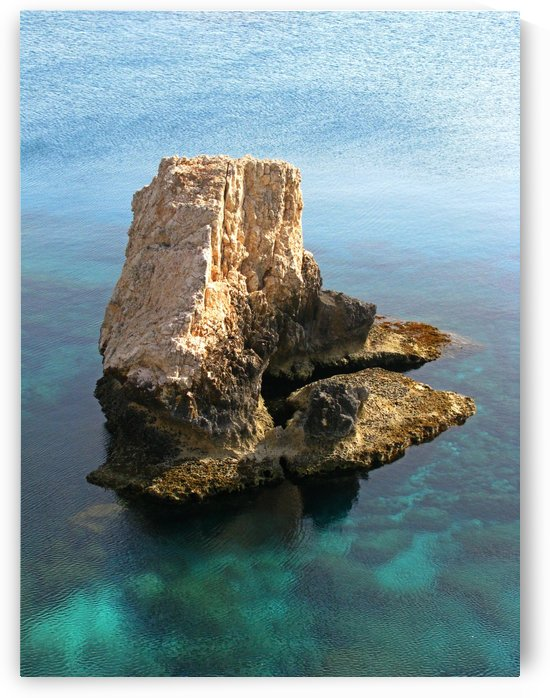 Sunny rock along Larnaca coast in Cyprus by Vlad Radulian