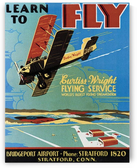 Curtis Wright flying service poster by VINTAGE POSTER