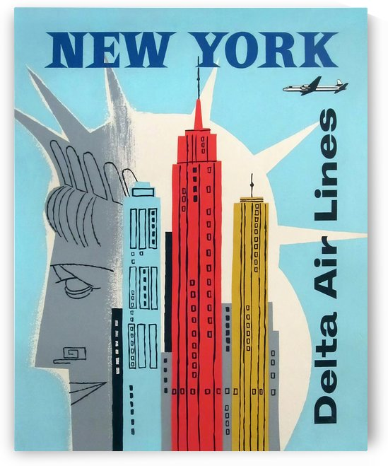 Delta Air Lines Vintage Poster for New York by VINTAGE POSTER