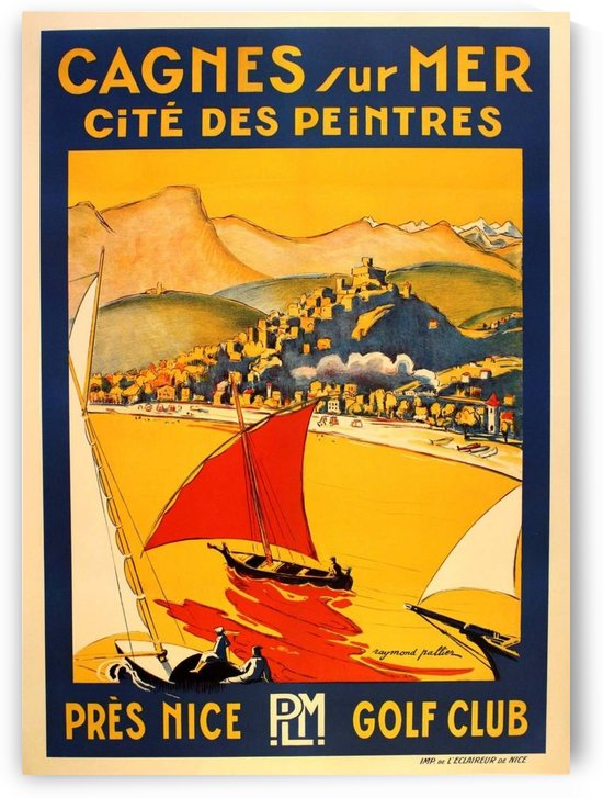Vintage Travel Poster for Cagnes sur Mer by VINTAGE POSTER