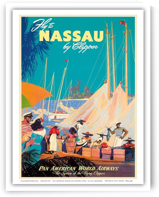 Fly To Nassau Pan American World Airways travel poster by VINTAGE POSTER