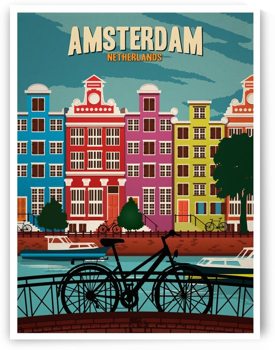 Amsterdam Netherlands Art Print travel poster by VINTAGE POSTER