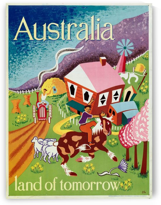 Australia Land of Tomorrow poster by VINTAGE POSTER
