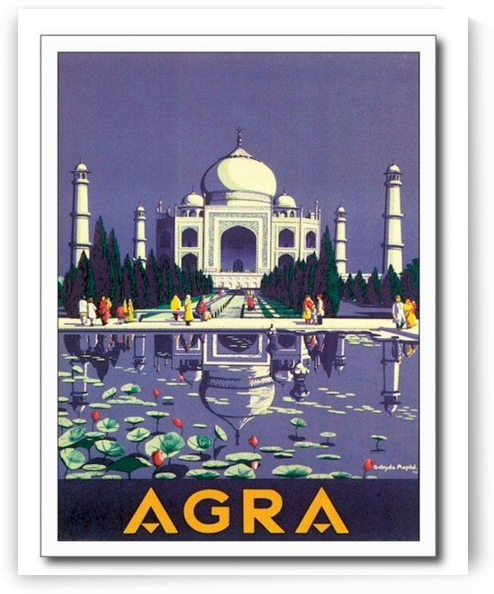 Vintage Taj Mahal Agra India Travel Poster by VINTAGE POSTER