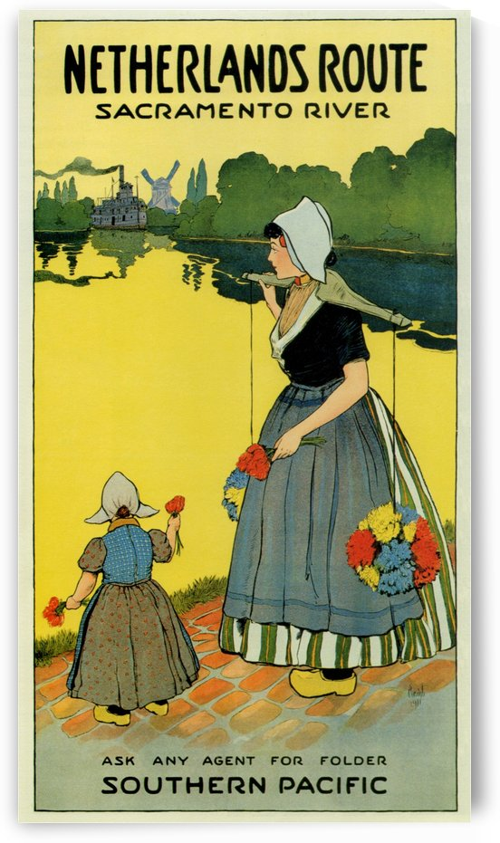 Netherlands Route Sacramento River travel poster by VINTAGE POSTER
