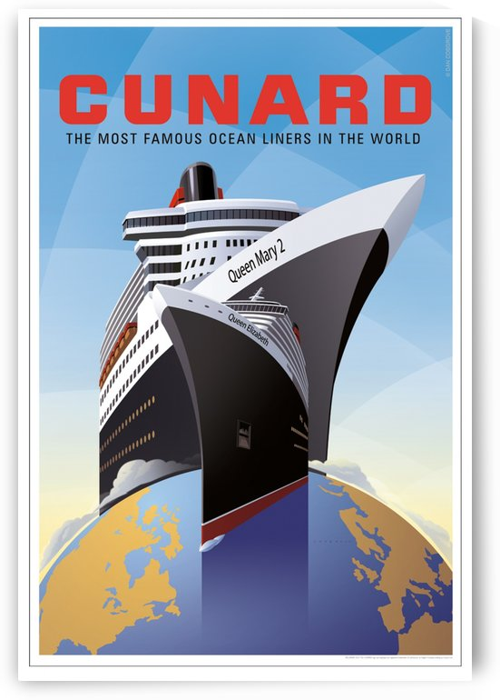 Cunard the most famous ocean liners in the world travel poster by VINTAGE POSTER