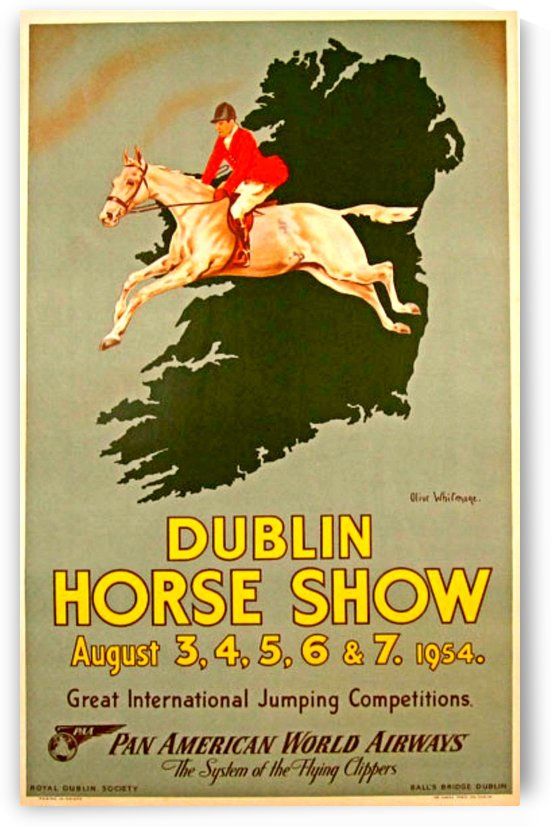 Pan Am Airlines to Dublin Horse show original vintage poster by VINTAGE POSTER