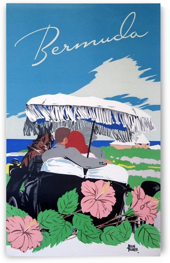 Bermuda Beach vintage travel poster by VINTAGE POSTER