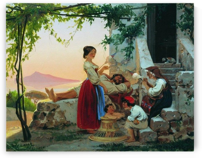 Family outside their house by Fyodor Bronnikov