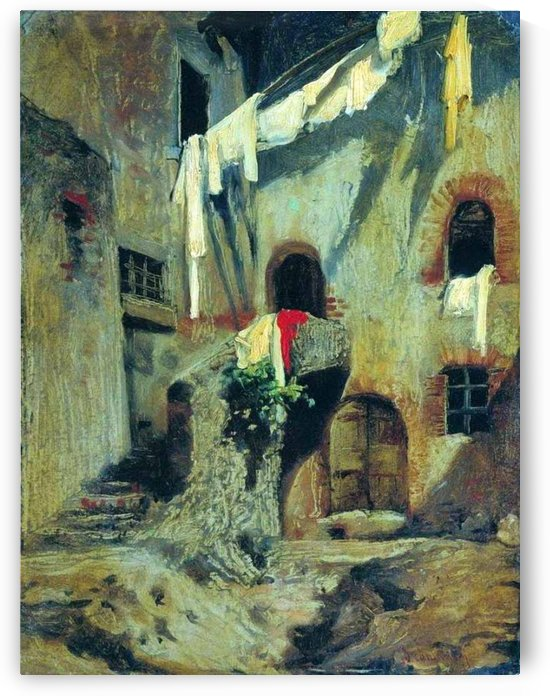 Italian courtyard with clothes hanging by Fyodor Bronnikov