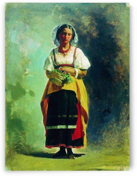 Italian Girl with a basket of flowers by Fyodor Bronnikov